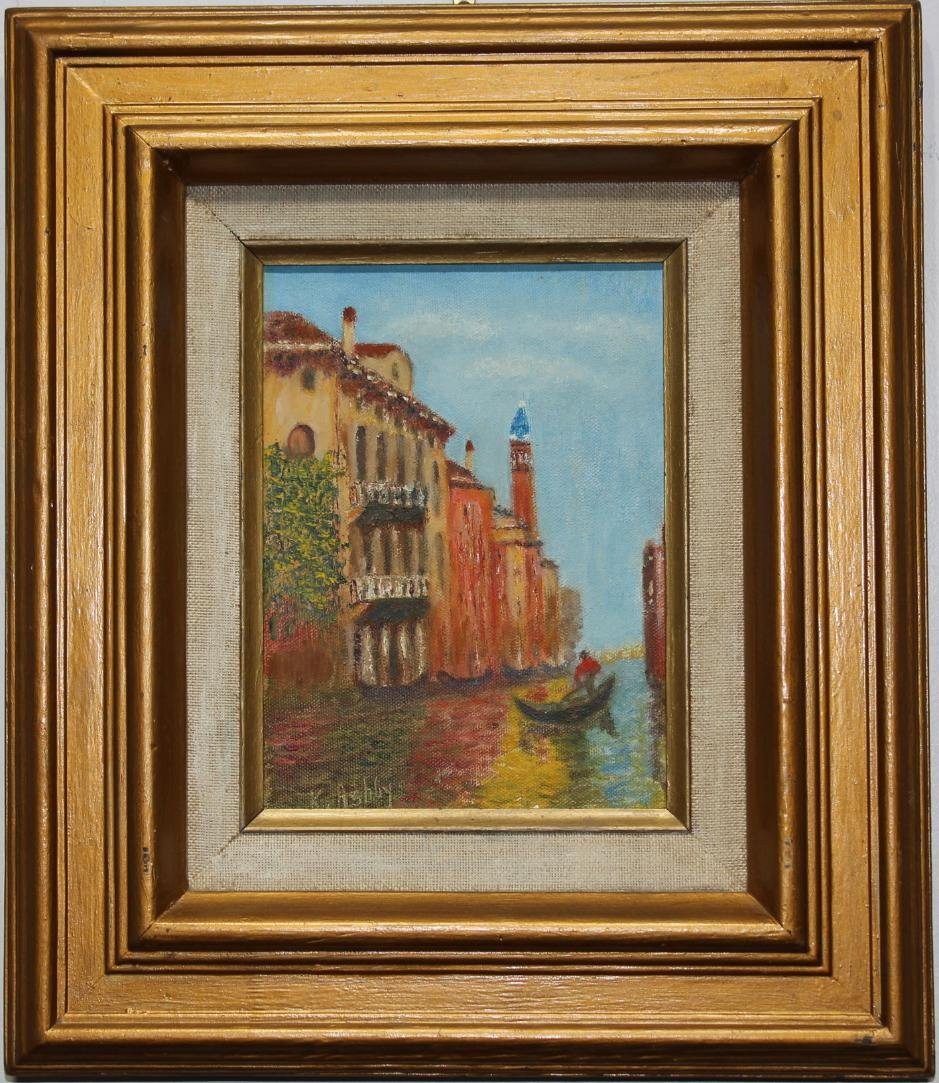 Signed, 20th C. Painting of Venice Italy