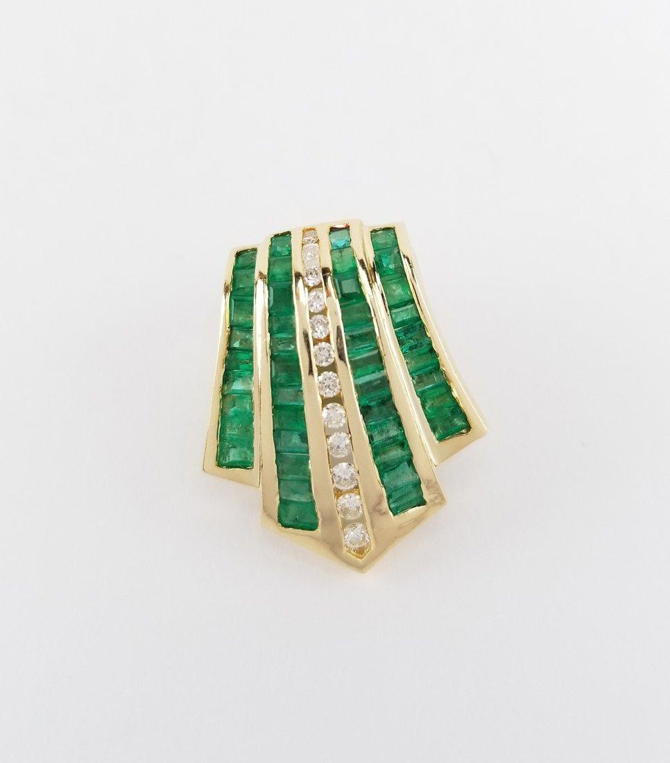 14K Gold Diamond & Emerald Pendant