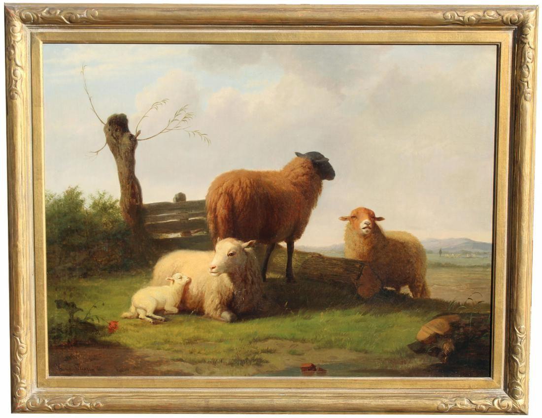 Tony Marin 1866 American Bucolic Landscape w Sheep