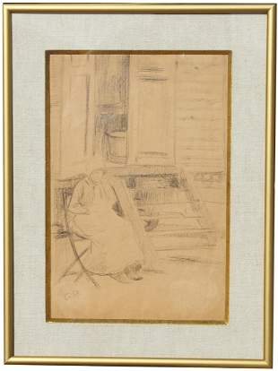Camille Pissarro (1830-1903) Brown Crayon Drawing