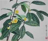 "Ren Yu (B. 1945) ""Yellow Camellias"""