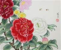 "Ren Yu (B. 1945) ""Camellias"""