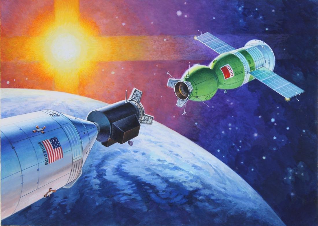 """Vladimir Beilin (20th C.) """"Soyuz-Apollo Docking"""""""