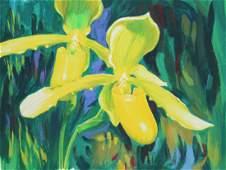 """Ren Yu (B. 1945) """"Paphiopedilum Henrietta Orchid"""""""