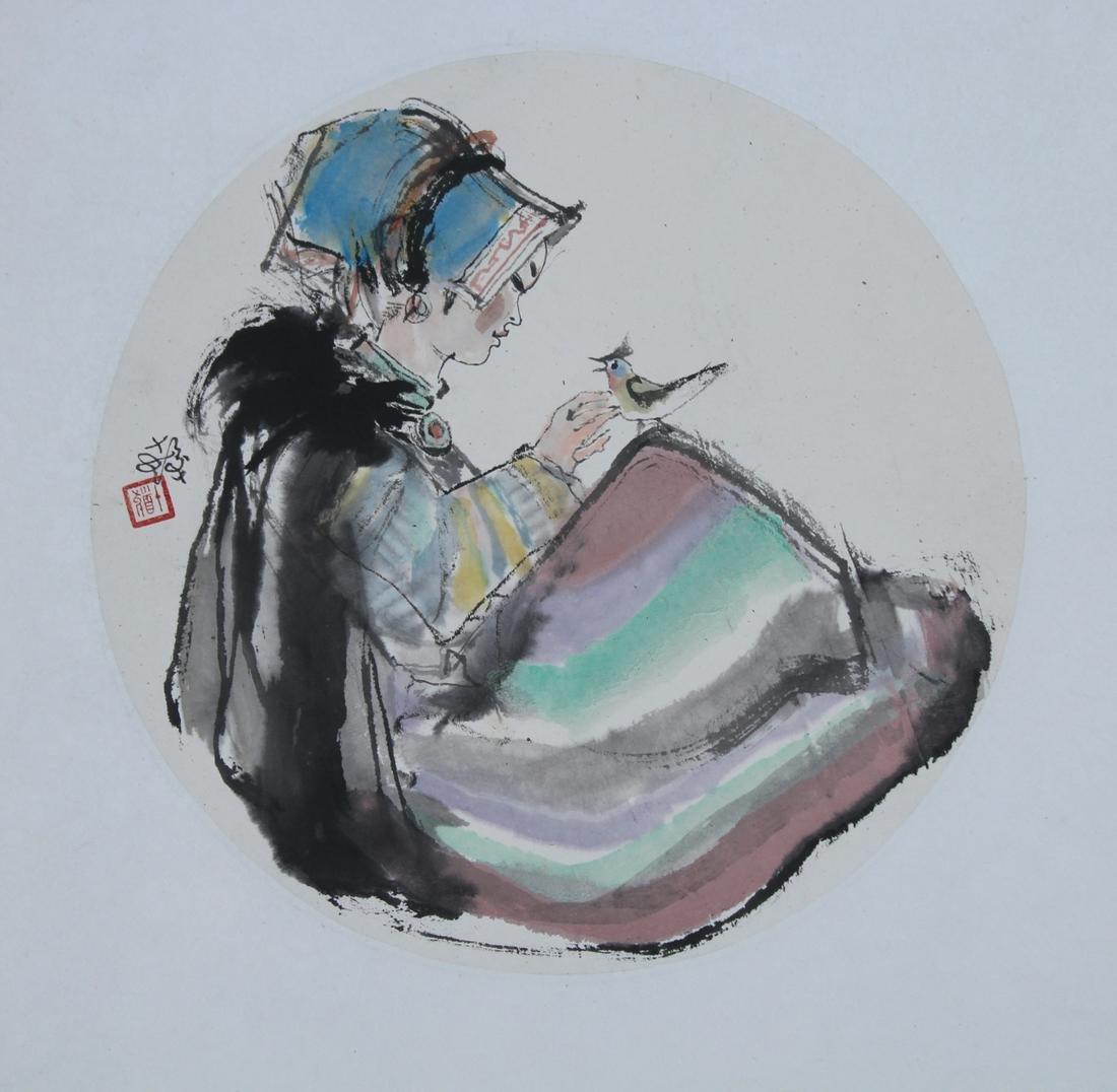 "Cheng Shifa (1921 - 2007) ""Girl with Bird"""