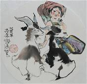 """Cheng Shifa (1921 - 2007) """"Girl Playing w/ Goats"""""""