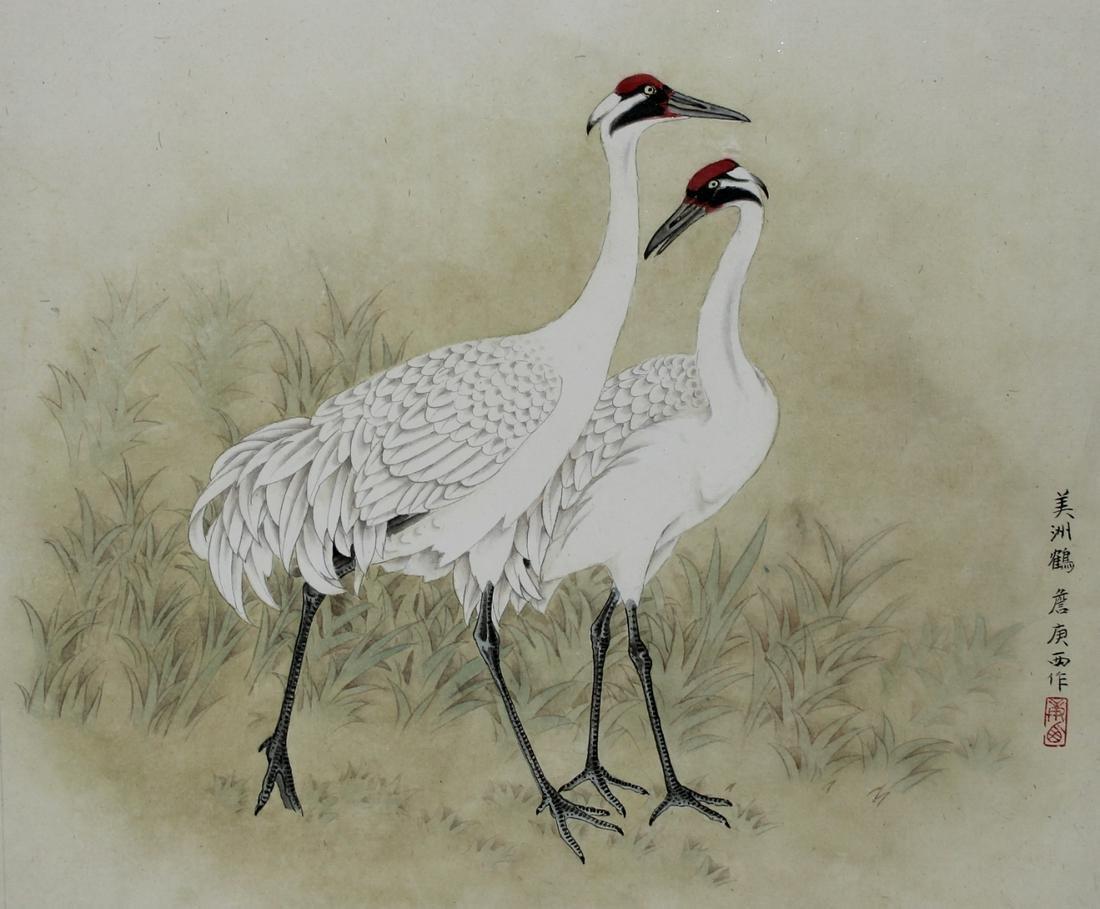 """Zhan Gengxi (B. 1941) """"Whooping Cranes"""""""