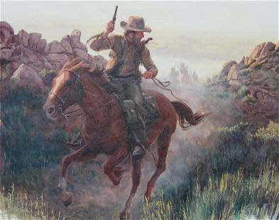 "Morton Kunstler (B. 1931) ""Pony Express"""