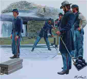 """Morton Kunstler (B. 1931) """"Battle of Fort Sumter"""""""