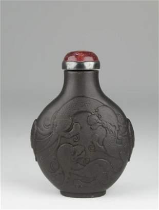 Rare Duan Stone 'Dragon Snuff Bottle