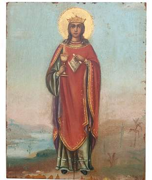 """Exhibited Russian Icon, """"The Great Martyr Barbara"""""""