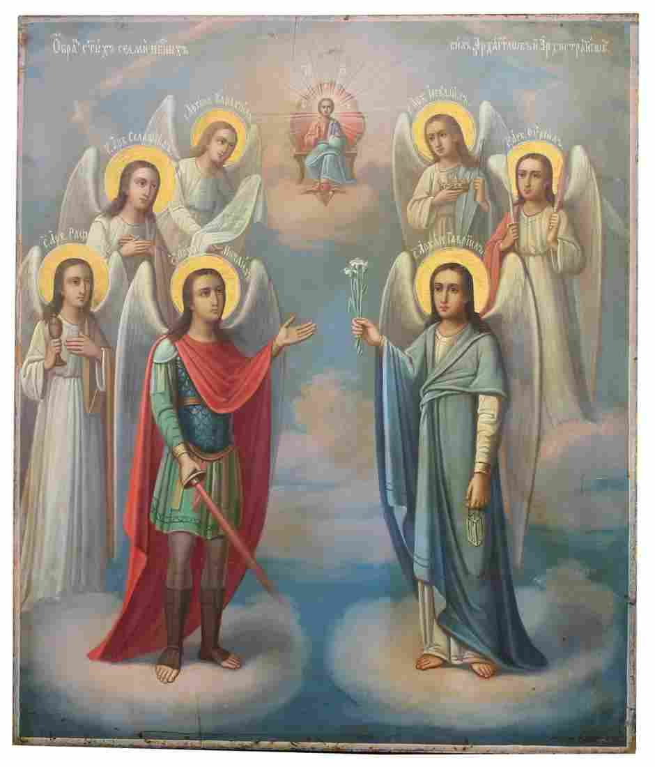 "Exhibited Russian Icon, ""The Seven Archangels"""
