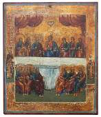 Exhibited 19th C Russian Icon The Mystic Supper