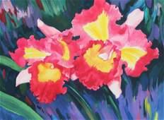 """Ren Yu (B. 1945) """"Laeliocattleya prism palette"""""""