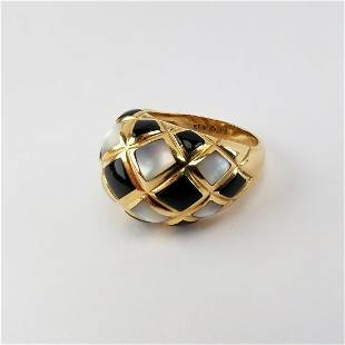 14K KBN Onyx Mother of Pearl Ring
