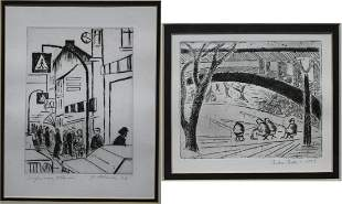2 1970s Pencil Signed Etchings