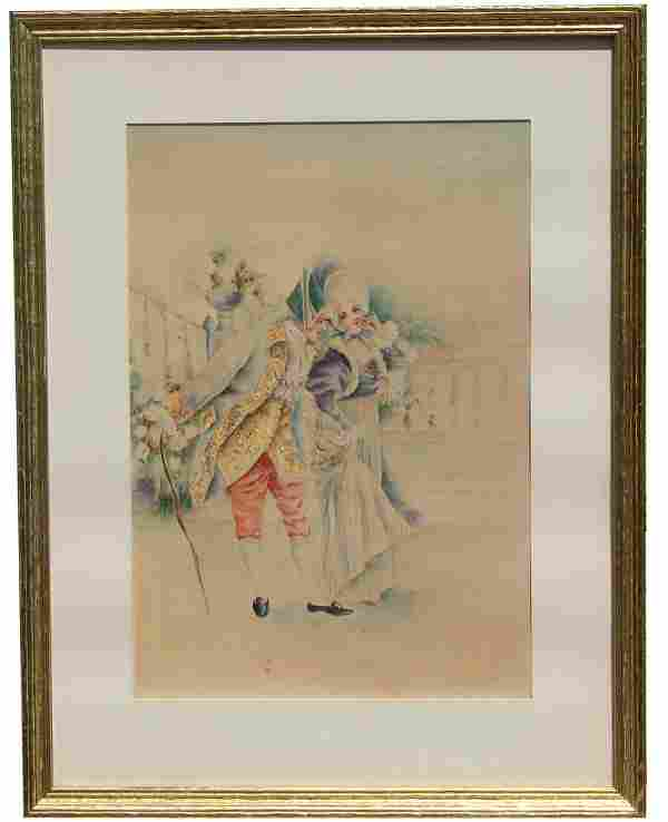 English School, 19th C. Watercolor. Signed