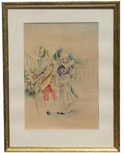 English School 19th C Watercolor Signed
