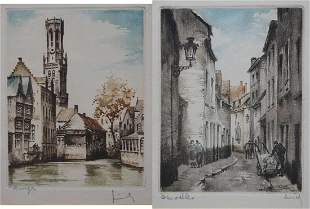 (2) Ernst Linck (1874 - 1935) Colored Etchings