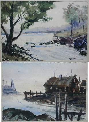 (2) Wally Bilyeau (American, 20th C) Watercolors