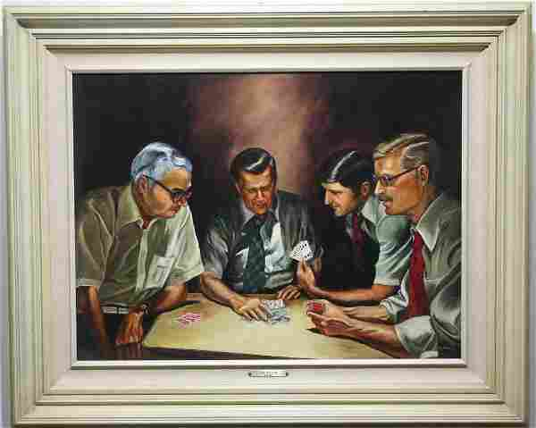 B Stoner Oil Painting of Men Playing Cards