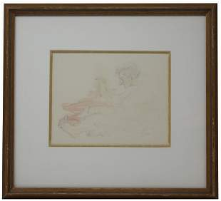 European School, Signed Figural Watercolor/Pencil