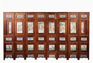 Qing, 8-Panel Chinese Porcelain Folding Screen