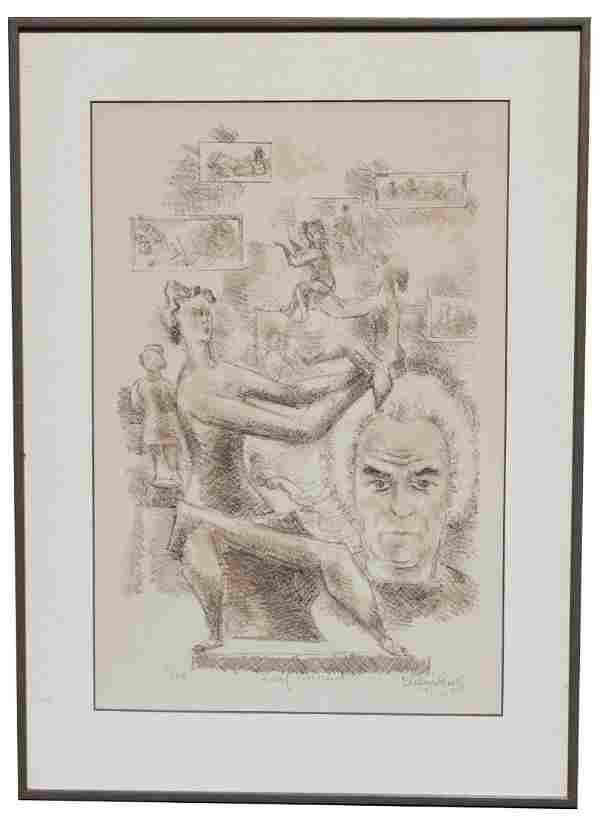"Chaim Gross ""Self-Portrait"" Lithograph"