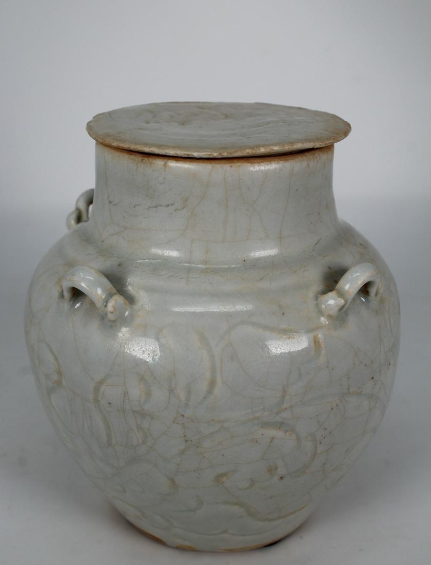 Chinese Qingbai Glazed Covered Jar, Song Dyn