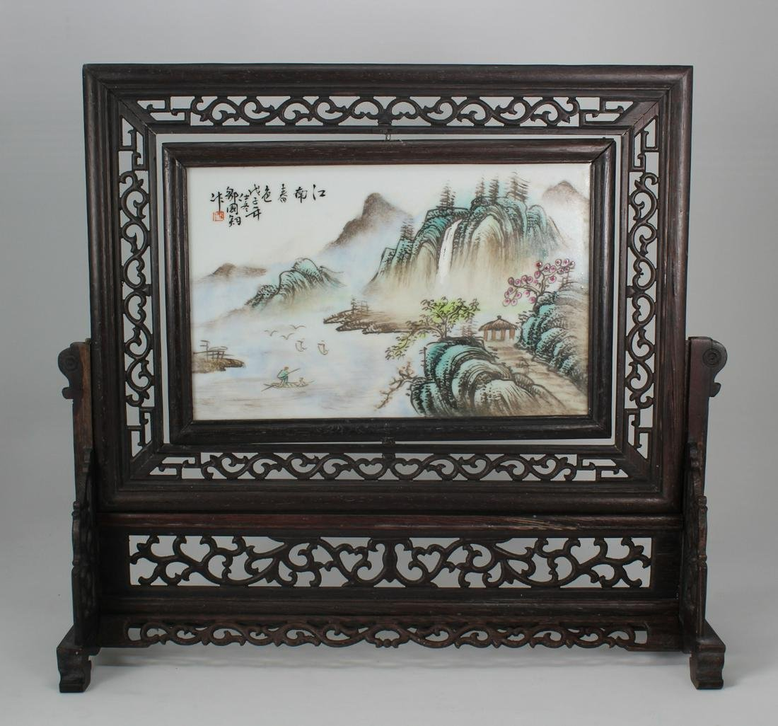 Signed, Chinese Porcelain Landscape Plaque