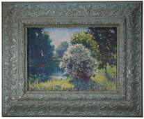 American School Painting of Canoe in Riverscape