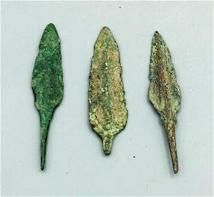 3 Bronze Luristan Arrowheads ca 800 600 BC