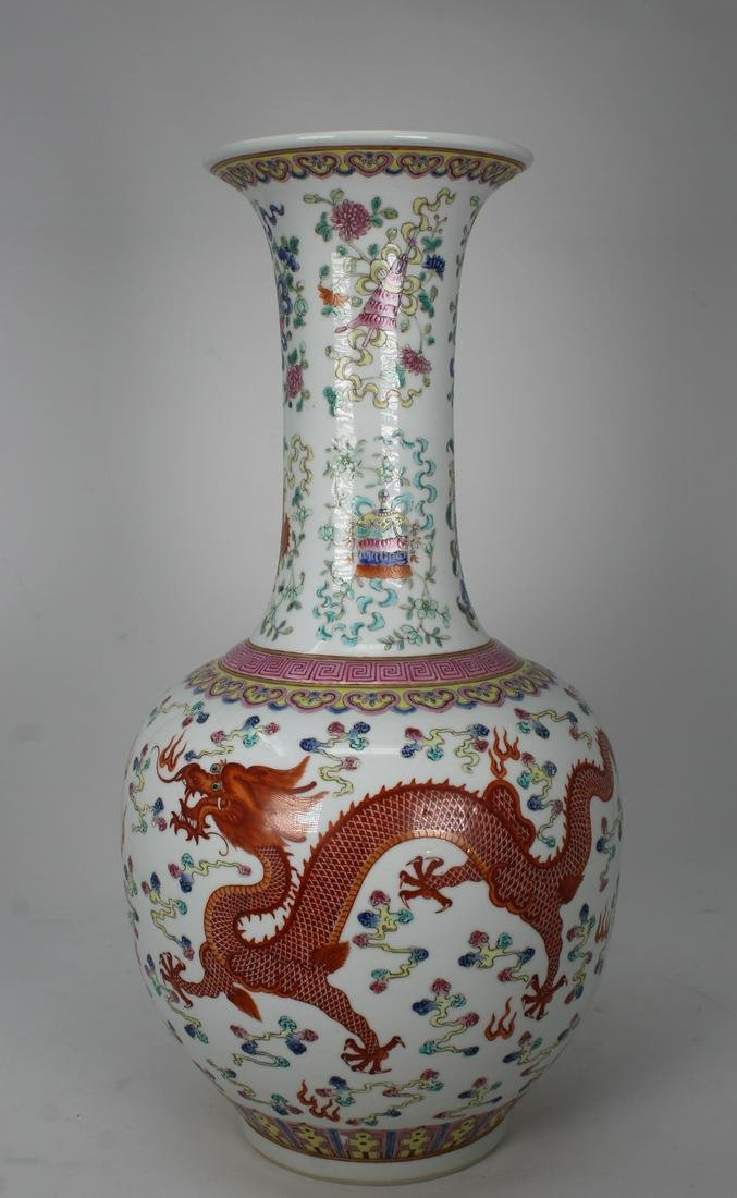 Signed Chinese 5-Claw Dragon Porcelain Vase