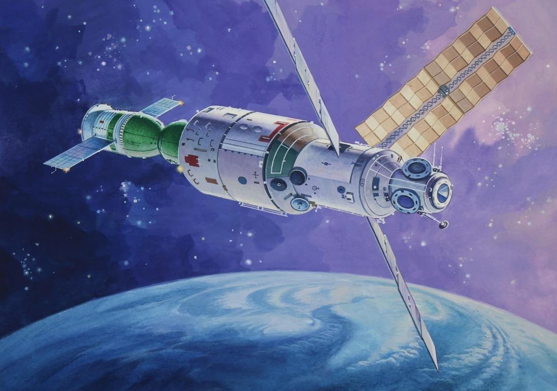 "Vladimir Beilin (20th C.) ""Mir Space Station"""