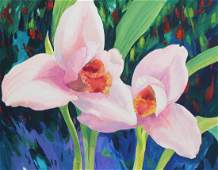 "Ren Yu (B. 1945) ""Lycaste virginalis Orchid"""