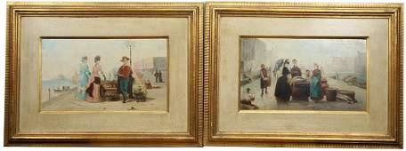 (2) 19th C. French School Harbor Scenes, Signed