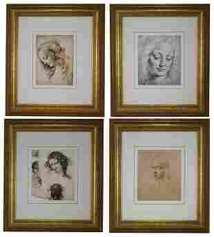 4 Framed Giclee Prints After Leonardo Da Vinci
