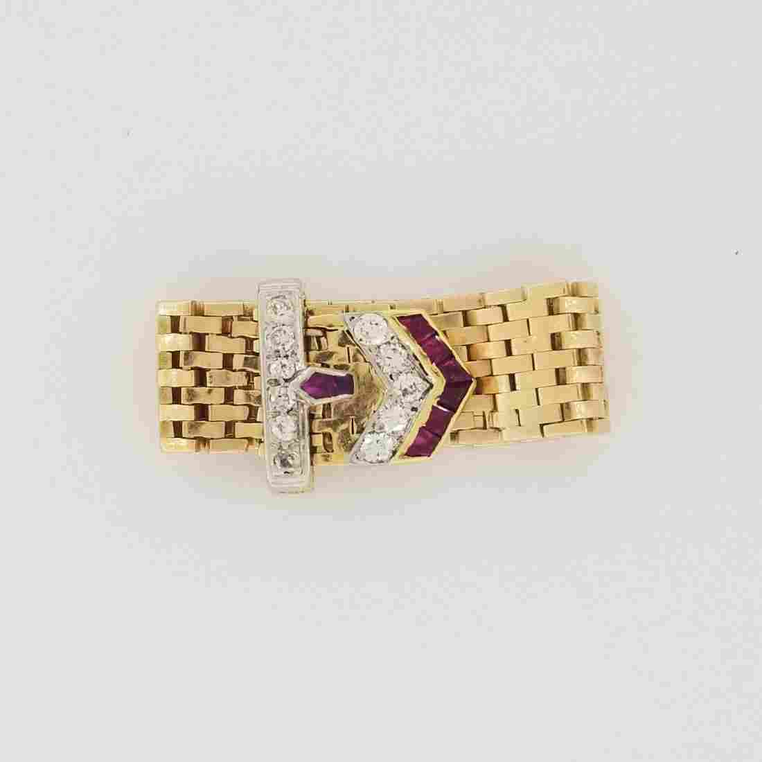 14K Gold Art Deco Diamond & Ruby Chain Link Ring