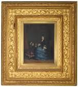 19th C. European School Interior Painting. Signed