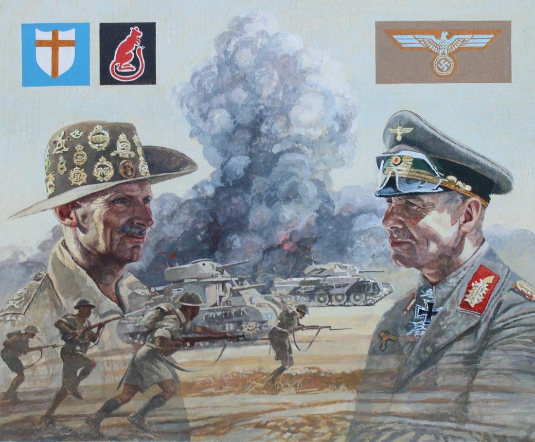 """Brian Sanders (B. 1937) """"Gen. Montgomery & Rommel"""""""
