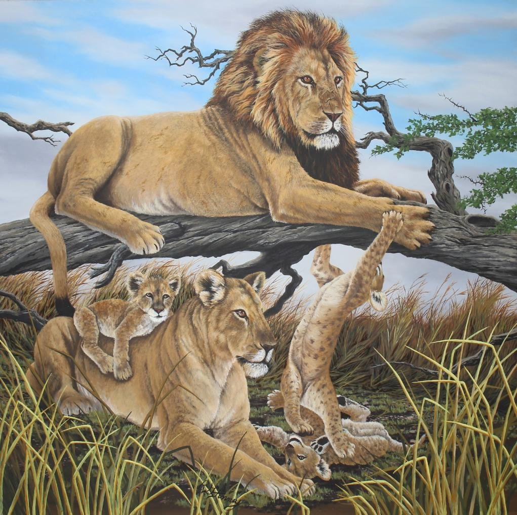 "R.G. Finney (B. 1941) ""Lion Family At Rest"""
