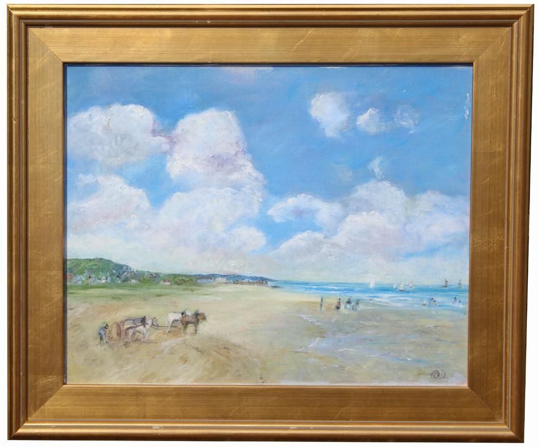 Signed, Painting of Beach Scene with Figures
