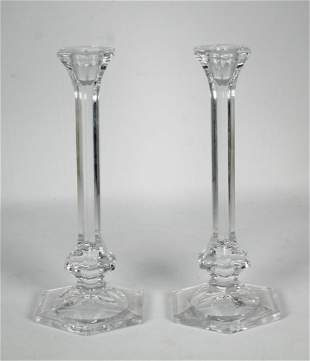 2 Towle Glass Candlesticks