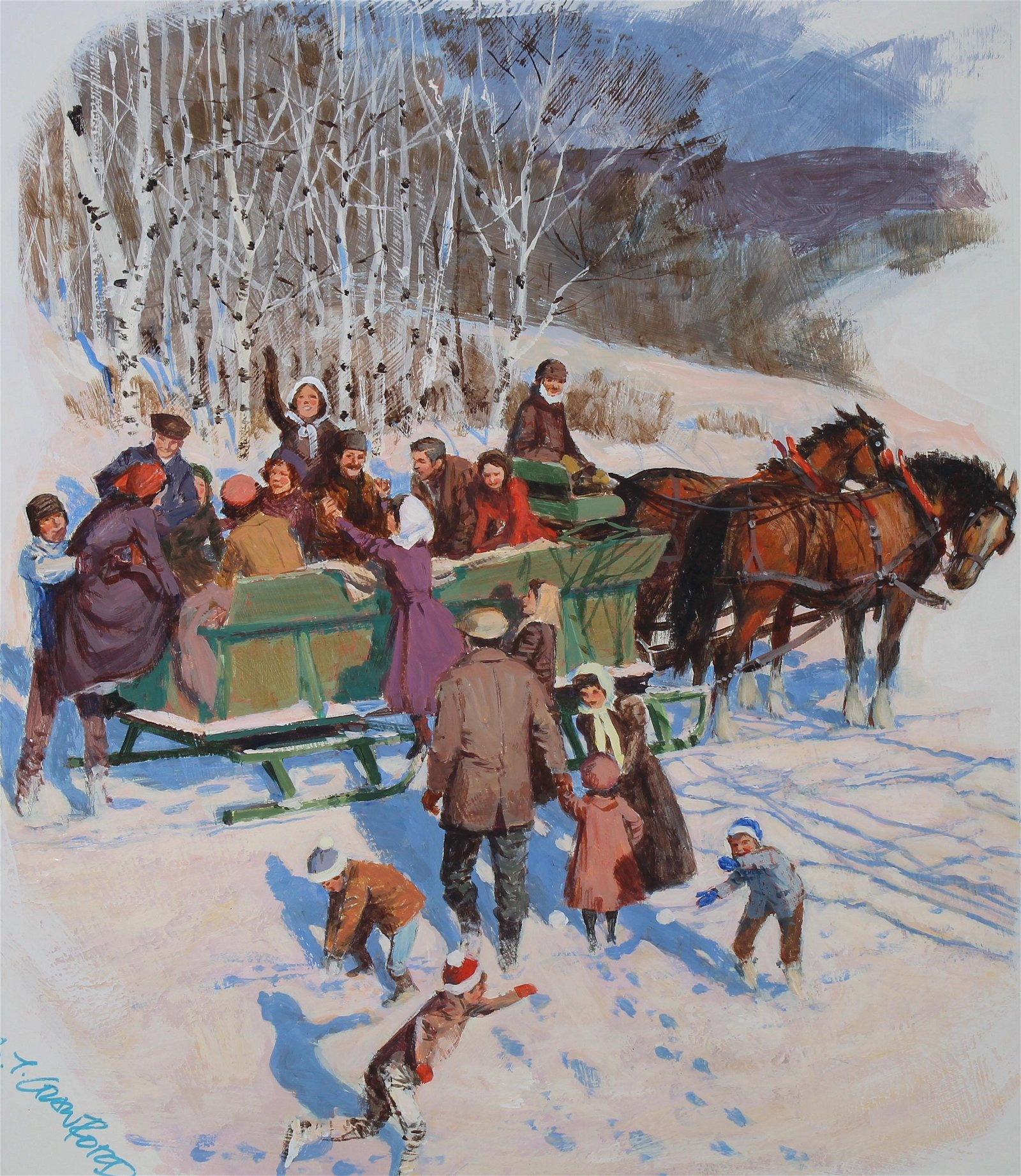 Mel Crawford (B. 1925) A Pause in the Sleigh Ride