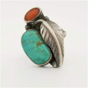 Navajo Turquoise Coral Silver Ring