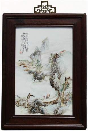 Signed, Chinese Famille Rose Landscape Plaque