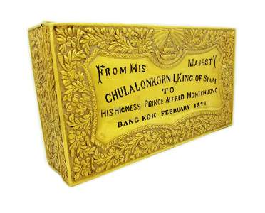 Important 22K Gold Presentation Box From King of Siam