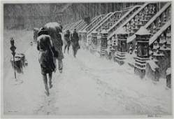 "Martin Lewis (1881-1962) ""Stoops in the Snow"" Drypoint"