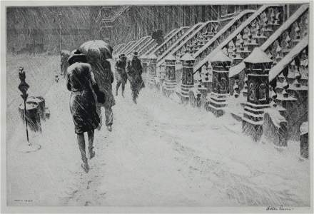 """Martin Lewis (1881-1962) """"Stoops in the Snow"""" Drypoint"""