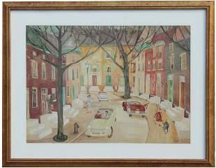 "Palmer Hayden (NY, 1890 - 1973) ""Baltimore Street"" W/C"